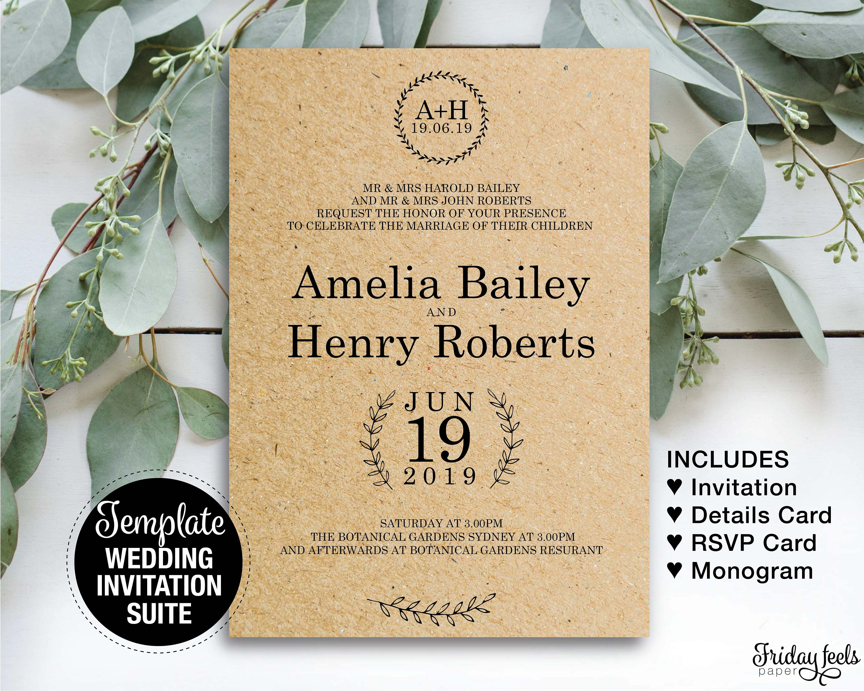 rustic wedding invitation suite printable template country