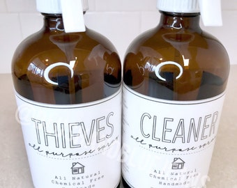 All Purpose Spray Label | Water Resistant Label | Glass Spray Bottle | Farmhouse Style | DIY | Thieves | Household Cleaner |