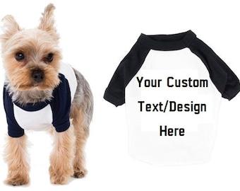 d39dff43fb7c Custom Raglan Dog Shirt in Black & White Pet Clothing Dog Tshirt