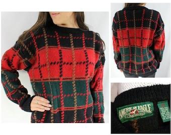 Vintage Plaid Sweater, Vintage Wool Sweater, Vintage American Eagle Sweater, Wool Vintage Sweater, Oversized Sweater Vintage, Cabin Sweater