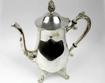 Vintage Silver Plated Teapot, Vintage Brass Teapot, Vintage Gooseneck Teapot, Silver Home Decor, Ornate Vintage Teapot, Silver Wedding Decor