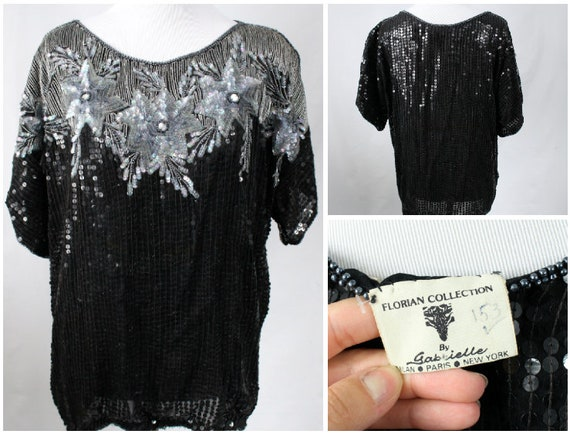 Chemise Vintage Sequin femmes paillettes dessus Vintage   Etsy 2e195f831bf5