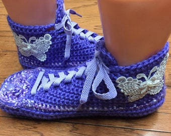 e94516798f7bfe Crocheted tennis shoes sneaker slippers purple slippers crochet tennis shoes  crocheted sneakers butterfly slippers Womens 7-9 Listing  402