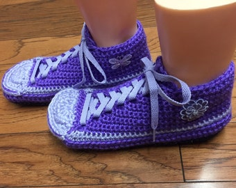 d8963e5cc6d4c0 Crocheted tennis shoes sneaker slippers crochet tennis shoes purple slippers  flower slippers butterfly slippers Womens 7-9 Listing  388