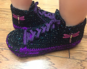 9525589e23f9f5 Crocheted tennis shoes sneaker slippers tennis shoes crochet dragonfly  slippers dragonfly sneakers purple slippers Womens 6-8 Listing  558