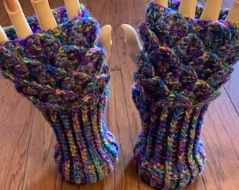 Crocheted dragon scales fingerless gloves hand warmers dragon tears fingerless gloves hand warmers rainbow dragon gloves dragon gloves FG119