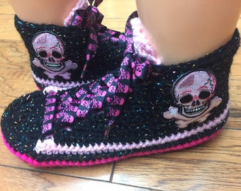 f3adce629093 Crocheted tennis shoes sneaker slippers skull slippers pink skull slippers  skull tennis shoes skull sneakers pink skull shoes Womens 7-9 514