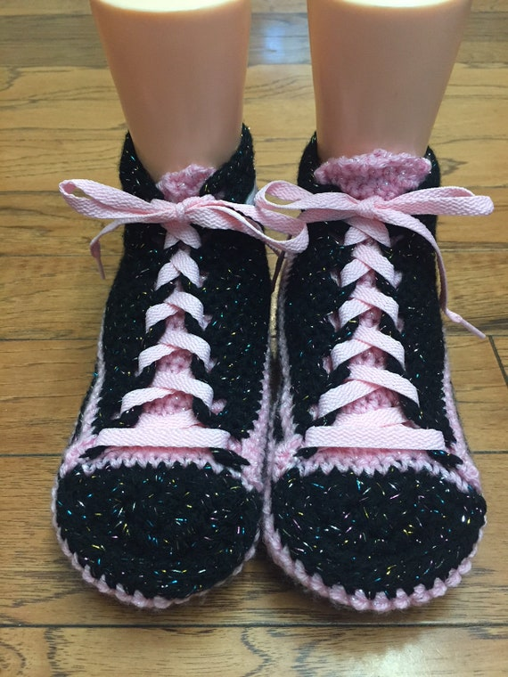 dragonfly Womens 331 sneaker 10 shoes 8 slippers slippers shoe dragonfly slippers dragonfly pink black sneakers Crocheted crochet tennis xwBH16Y
