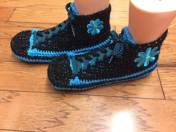 tennis fleur tennis bleue bleu fleur Bonneterie chaussures 425 chaussons chaussons 10 chaussons sneaker de maison baskets crochet femmes chaussures 8 6q0vwdq