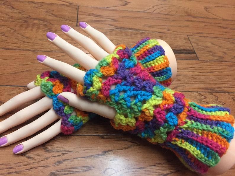 Crocheted Fingerless Gloves Fingerless Mittens Rainbow Etsy
