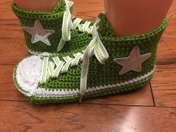 slippers 7 custom shoes tennis bling green converse converse Womens converse converse inspired crocheted Converse 427 sneaker 9 top high WAqwBxp1Y