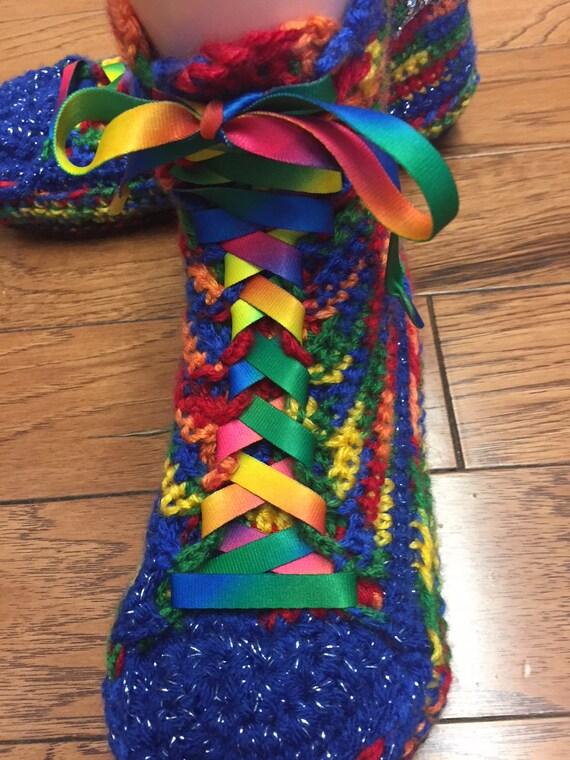 crochet tennis slippers high Womens converse Crocheted slippers rainbow top sneaker converse 266 9 slippers shoe 7 converse rainbow rainbow wEzSzO4xq