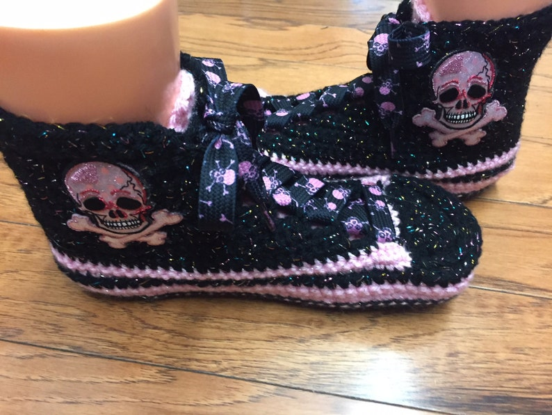 e965038a491f Crocheted high top tennis shoes sneaker slippers pink skull
