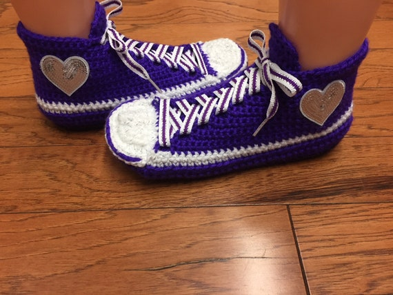 slippers shoes slippers Womens 431 heart sneakers crochet Crocheted 8 shoes crocheted tennis heart slippers sneaker sneakers purple 6 tennis nq4WXyZ4t