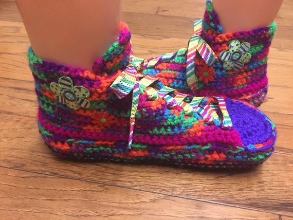 7 sneakers slippers tennis 235 crocheted flower shoe Size Crocheted slippers sneaker house 9 rainbow rainbow sneakers shoes rainbow slippers 0axUW6nx