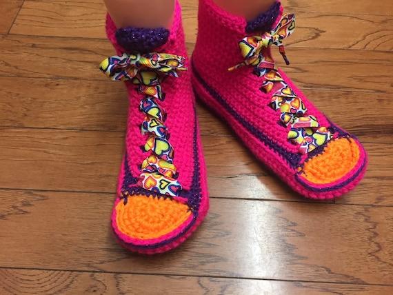 coeur top 159 crochet coeur pantoufles fluo maison chaussons 8 au tennis chaussures taille sneaker 10 chaussons de Valentin Chaussure pantoufles haute Saint tqw8108