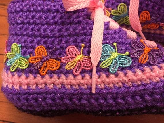 butterfly sneaker slippers shoe Crocheted 8 house butterfly butterfly shoes Womens purple pink List 297 sneakers slippers tennis slippers 6 qE11z8