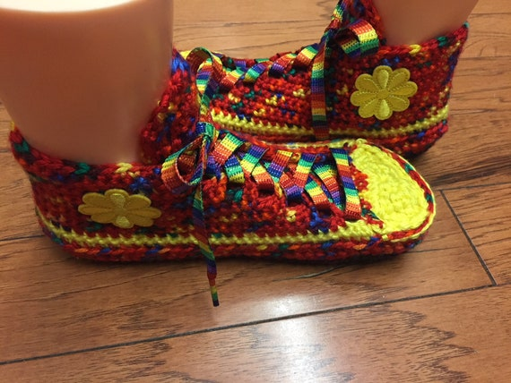 crocheted daisy rainbow sneaker 231 flower Womens shoe sneakers slippers sneakers Crocheted 7 slippers rainbow tennis slippers slippers 9 8vxS7Eq