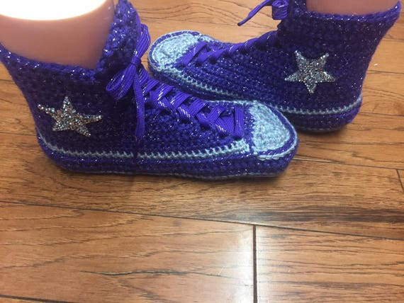 slippers 181 high converse Slippers 10 shoes crocheted Tennis converse 8 top tops Crocheted Womens high Shoe Sneaker slippers purple house nCFHqB