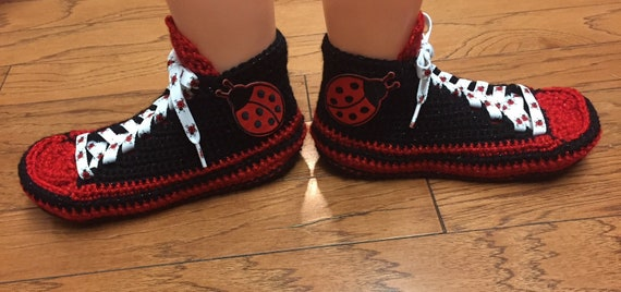 ladybug shoes shoe house sneakers slippers ladybug 244 7 Crocheted red sneaker List slippers black tennis slippers ladybug ladybug Womens 9 dEPqz6
