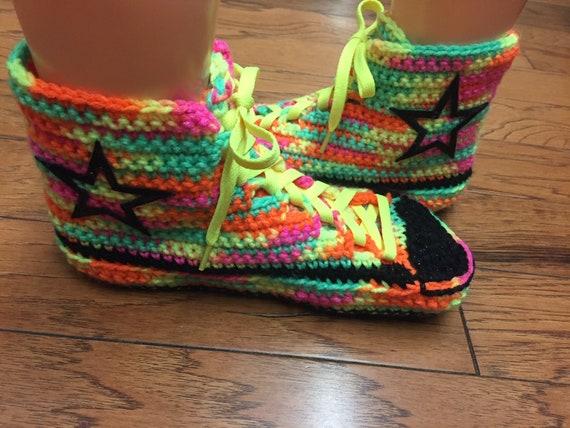 crochet 8 inspired Converse slippers high 362 converse converse tennis 10 top Womens shoes neon rainbow slippers sneaker converse converse Fqw4qxd