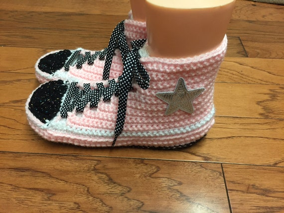 slippers crocheted tennis inspired sneaker converse crochet 8 pink top converse 10 converse high Womens 389 shoes Converse slippers converse wqtYPpxxg