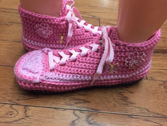 rose chaussons 10 crochet tennis papillon fleur chaussures au baskets pantoufles chaussons tennis Chaussures de crochet chaussons sneaker de Womens 8 HZw5qYS