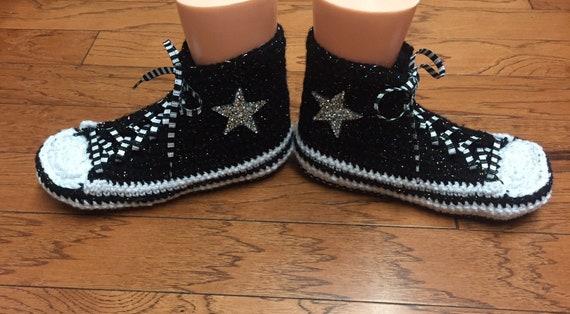 ... 10 crocheted shoe converse slippers Converse 8 bling sneaker high  Womens slippers List tennis top blsck ... d97532f33c05