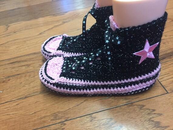 noir au rose hauts crochet dessus baskets chaussons converse sommets 8 converse 238 10 converse chaussons tennis Womens Pantoufles montantes wSqYwz