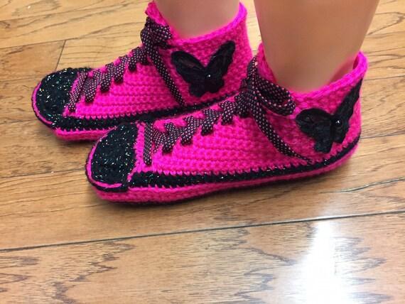 Chaussures rose chaussons papillon 7 crochet 9 femmes chaussons de crochet au 403 tennis tennis chaussures pantoufles chaussons sneaker baskets maison YqY0rw