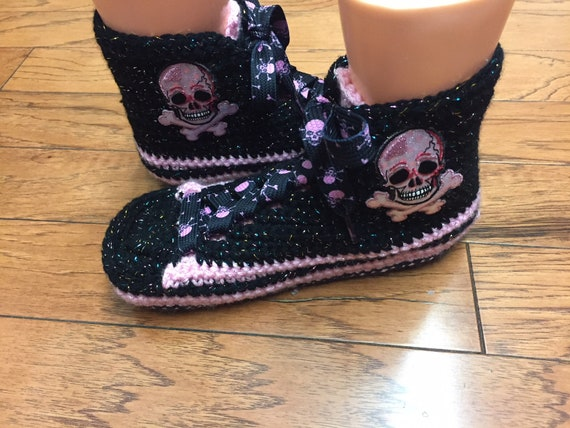 75cfbc6467e2 ... 10 skull sneaker Womens slippers high top tennis shoes Crocheted 8 top  high shoes tennis skull ...