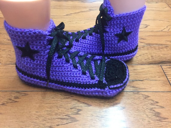 converse high sneaker 256 Womens 9 slippers tennis crocheted purple converse top 7 Crocheted slippers slippers crochet purple shoe converse 4qO4d