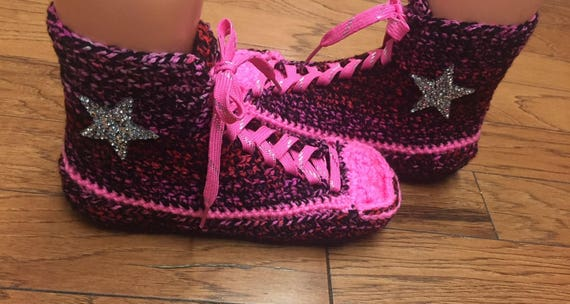 Crocheted converse high converse converse 8 tennis top crocheted Women slippers top sneaker slippers crochet 216 converse high 10 shoe pink rYrqzwdx1