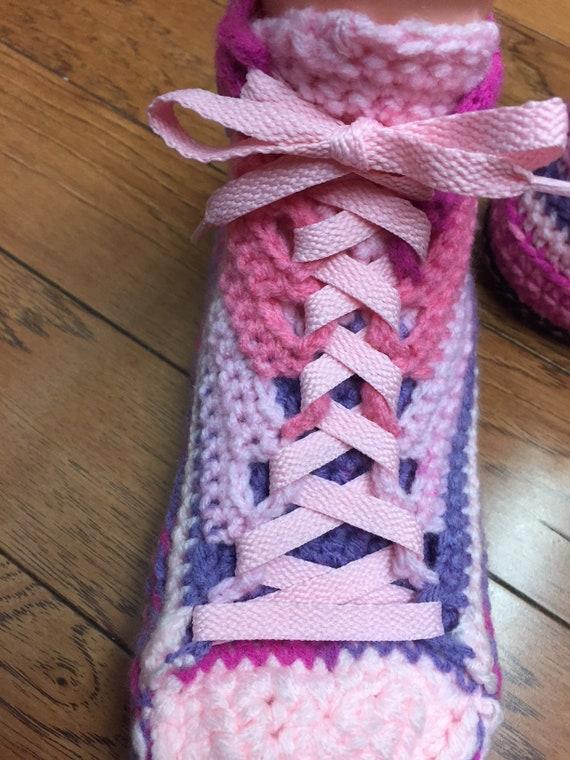 slippers crochet Listing 398 slippers 8 flower shoes sneaker 10 slippers pink sneakers shoes Womens flower tennis tennis Crocheted purple PY1wTq