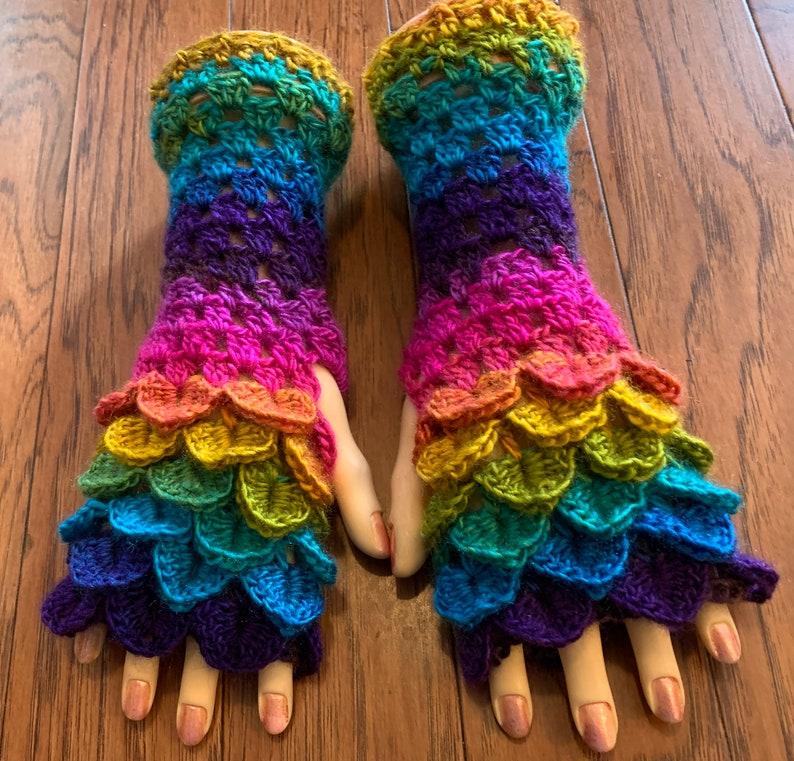 Crocheted dragon scales fingerless gloves arm warmers dragon tears fingerless gloves arm warmers mermaid fingerless gloves arm warmers FG176