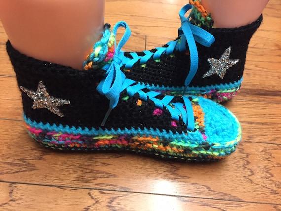 9 converse converse slippers tennis top Crocheted slippers shoe crocheted Womens sneaker slippers 7 List high rainbow rainbow 282 converse zaPznF8