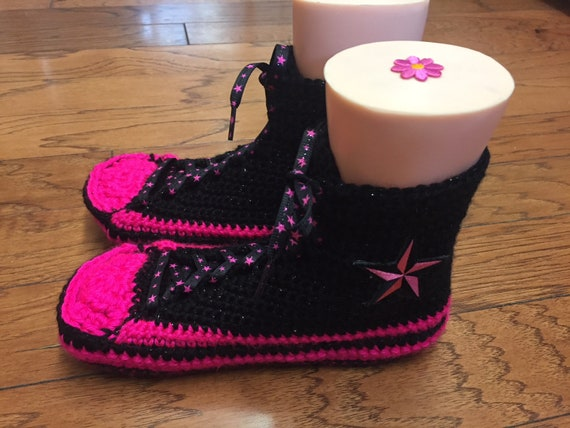 top crocheted black Womens slippers 264 tennis converse High sneaker pink crocheted converse converse shoe black 7 pik slippers slippers 9 f1FqAw