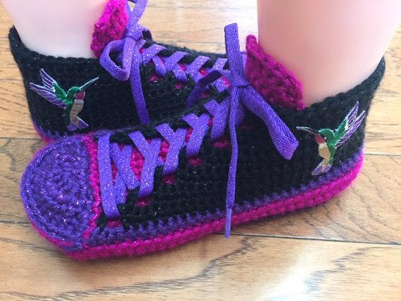 296 hummingbird slippers slippers crochet 8 sneakers purple hummingbird tennis Womens sneaker 6 slippers shoe hummingbird Crocheted pink qwIaSg7