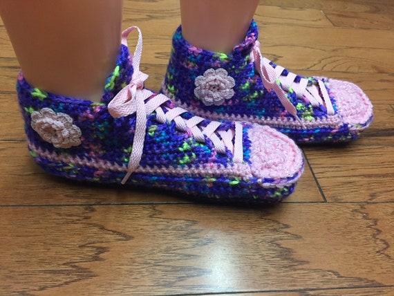sneaker slippers Crocheted 7 322 shoe flower house pink flower slippers purple sneakers 9 slippers tennis pink flower shoes Womens slippers rpp8HqEwT