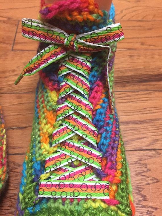 house flower 9 tennis sneaker slippers Crocheted shoe 259 sneakers sneakers rainbow Womens rainbow slippers rainbow slippers flower shoes 7 qPBzTBwAF