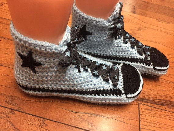 top inspired shoe tennis 8 sneakers slippers Converse crocheted converse blue slippers sneaker converse top 348 Womens high 6 high slippers REdxIq