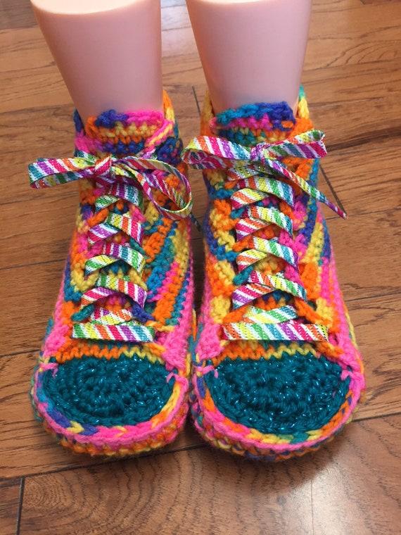 tennis Crocheted 10 slippers sneakers slippers 302 rainbow Womens slippers daisy shoe rainbow sneaker slippers List flower 8 sneakers flower qHdnaHwrCx