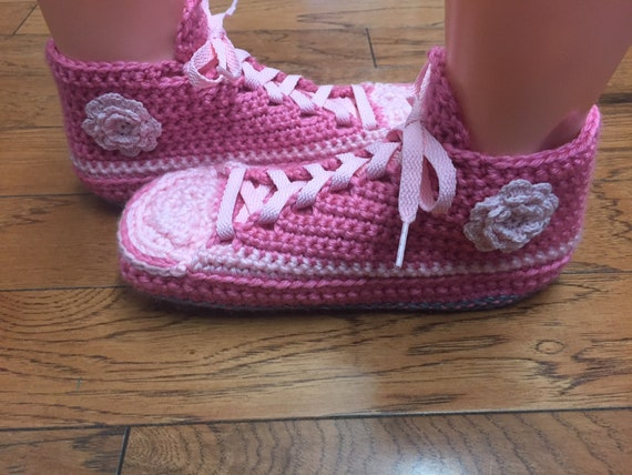 pink flower sneakers sneaker slippers house pink pink 8 6 sneakers pink flower shoes shoe Crocheted 250 tennis slippers pink Womens slippers X1pOPwqO