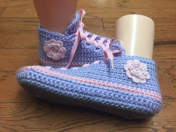 flower crocheted slippers 6 List263 8 pink lavender slippers Crocheted sneakers flower shoe sneaker slippers sneakers slippers tennis Womens xzZnT7fwv