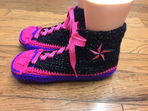 converse tennis converse crocheted pink converse slippers crochet 8 slippers shoe inspired sneaker Converse 10 Womens top converse 355 high wCqgvtx1