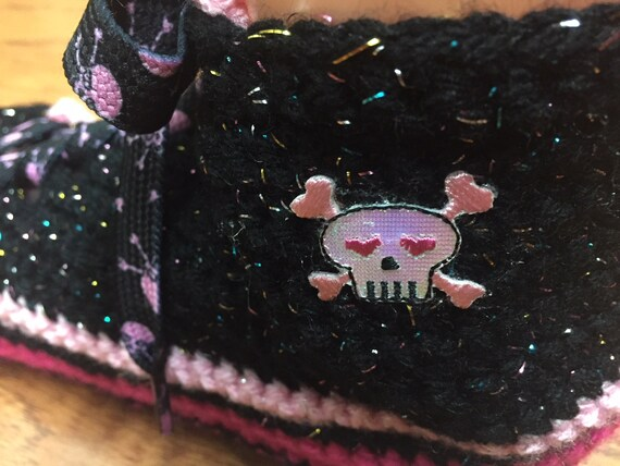 tennis tennis skull 10 pink skull slippers 439 Womens skull sneakers skull shoes pink slippers slippers skull 8 shoe Crocheted sneaker shoes dwBgdF