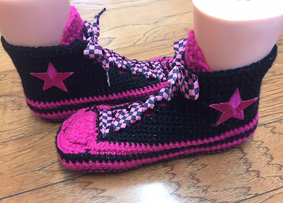 Womens sneaker High crocheted converse 265 pink slippers crocheted black slippers converse slippers 9 7 top converse crochet shoe tennis wZACFZq