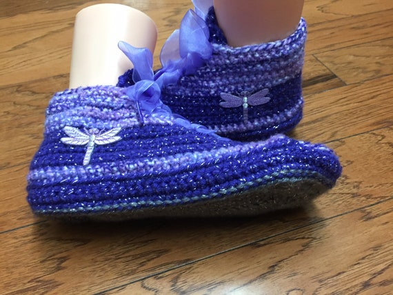 dragonfly sneakers 8 10 shoes tennis slippers dragonfly dragonfly purple Crocheted slippers shoe List slippers 228 Womens slippers sneaker 6wZqxYz