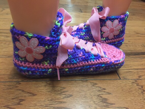 8 pink house Womens flower Crocheted tennis sneakers slippers slippers flower purple crocheted 258 sneaker slippers sneakers shoe shoes 10 0aBpZX