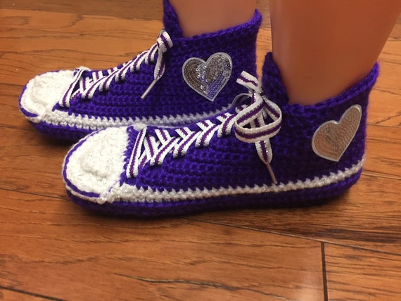 shoes 6 tennis heart crochet Crocheted 8 slippers sneakers sneakers slippers 431 shoes crocheted tennis heart slippers Womens sneaker purple 5wxqfa